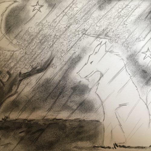 littérature dessin loup lune drawing fusain